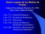 bases legales de los medios de prueba