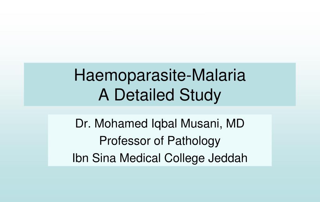 haemoparasite malaria a detailed study l.