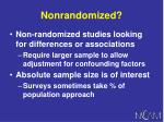 nonrandomized