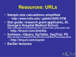 resources urls