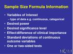 sample size formula information