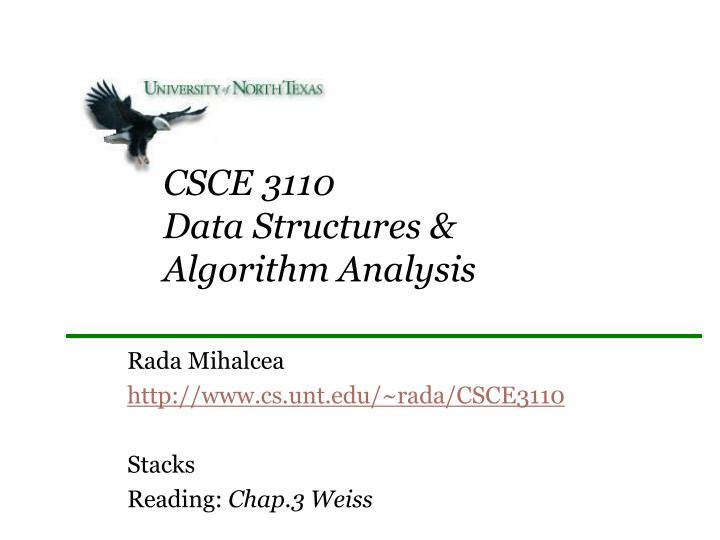 csce 3110 data structures algorithm analysis n.