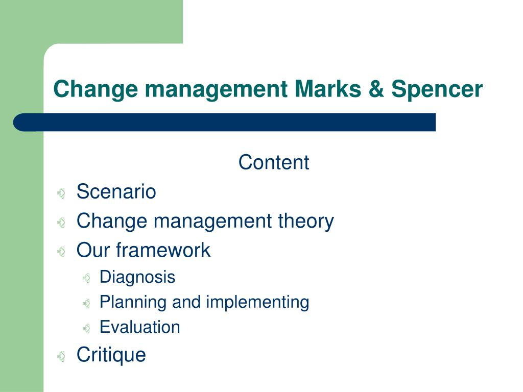 change management marks spencer l.