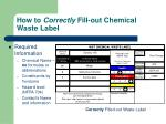 how to correctly fill out chemical waste label