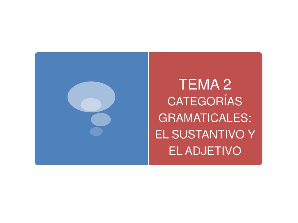tema 2 categor as gramaticales el sustantivo y el adjetivo l.