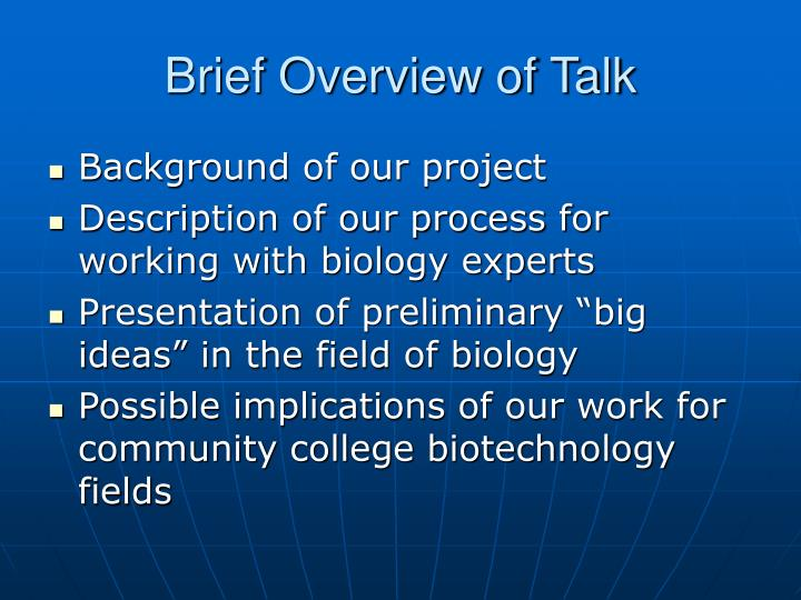 Brief overview of talk