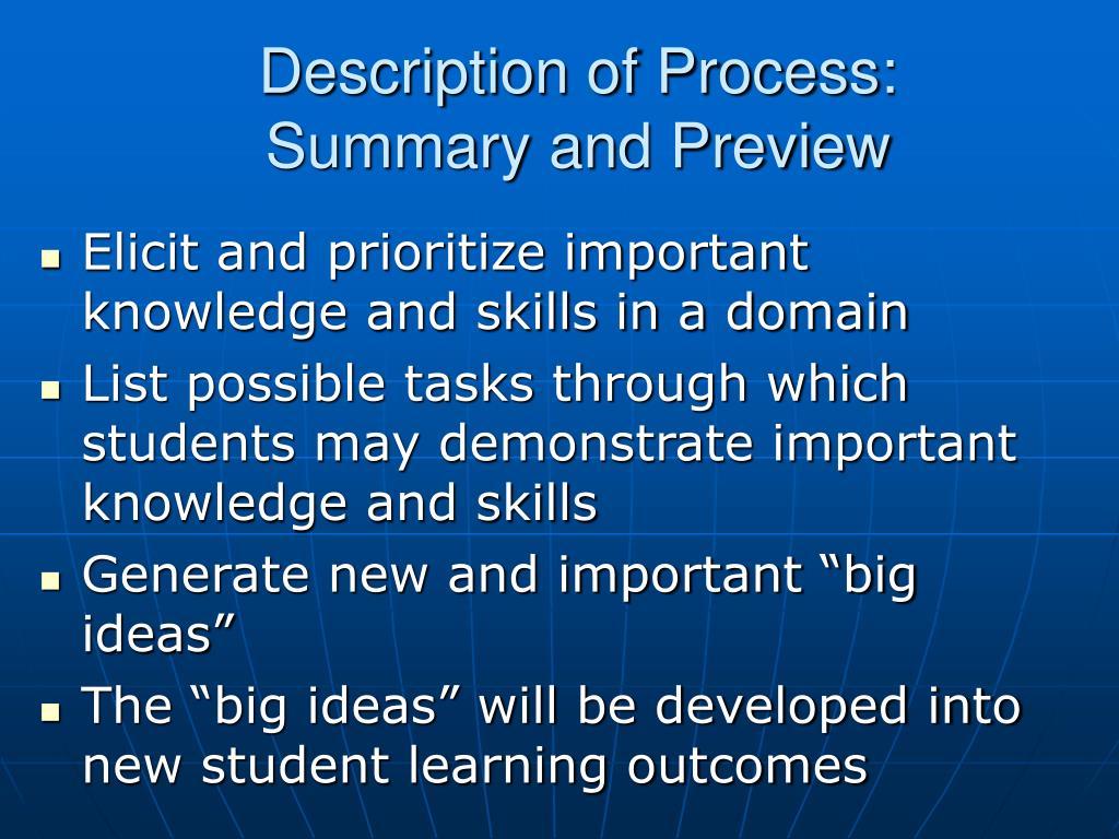 Description of Process: