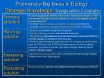 preliminary big ideas in biology strategic knowledge design within constraints
