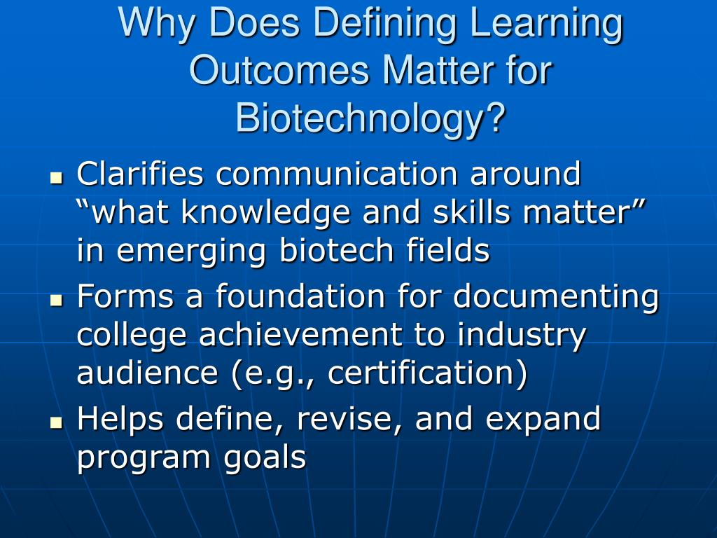 Why Does Defining Learning Outcomes Matter for Biotechnology?