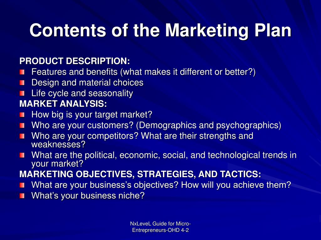 Contents of the Marketing Plan
