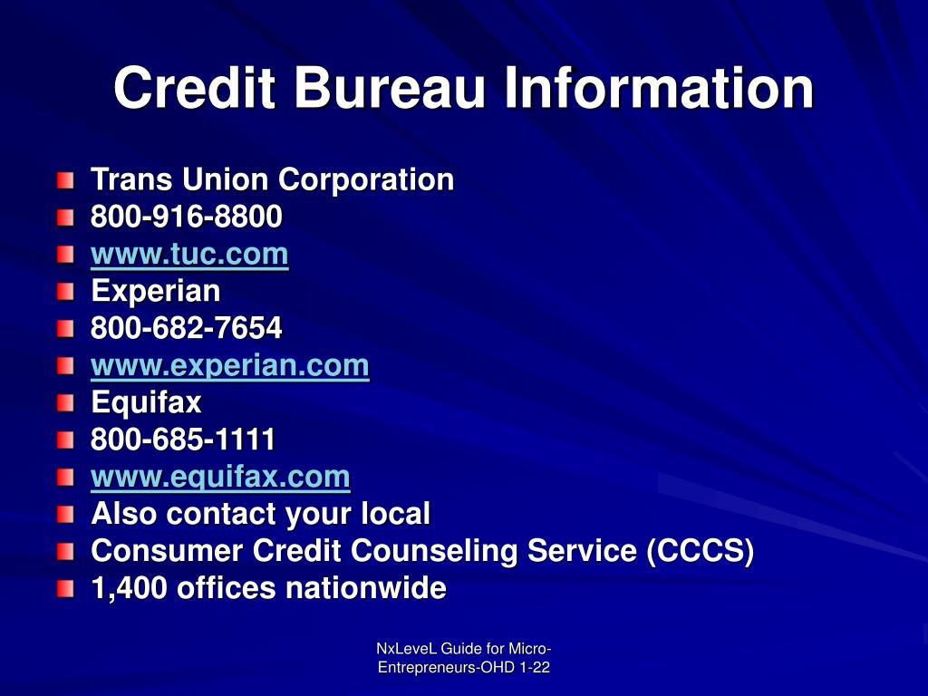 Credit Bureau Information