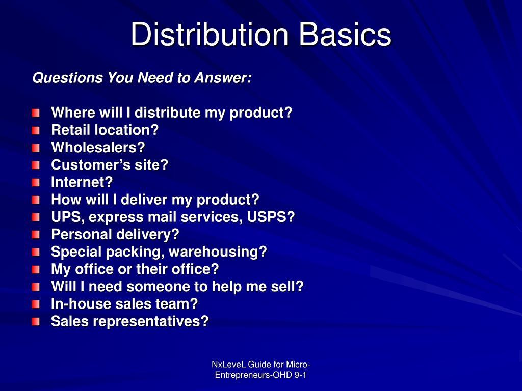 Distribution Basics