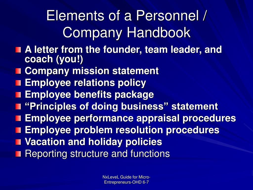 Elements of a Personnel / Company Handbook