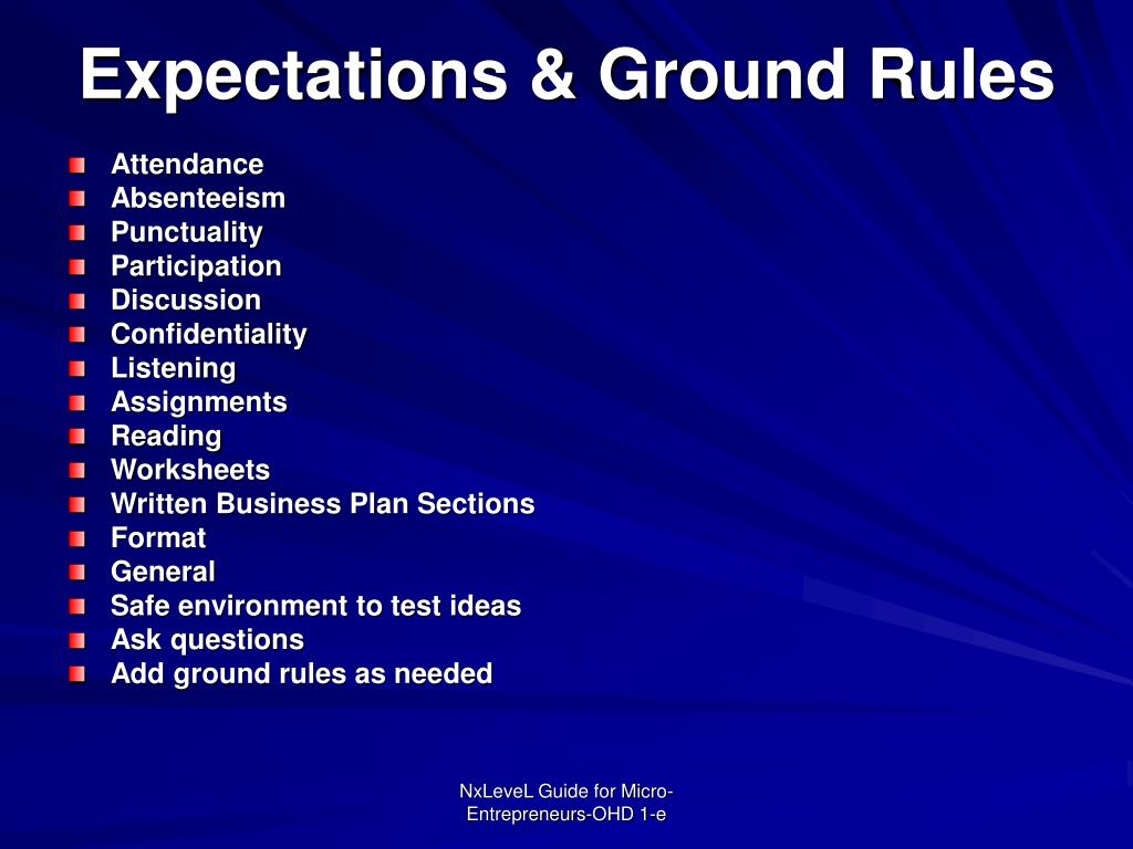 Expectations & Ground Rules