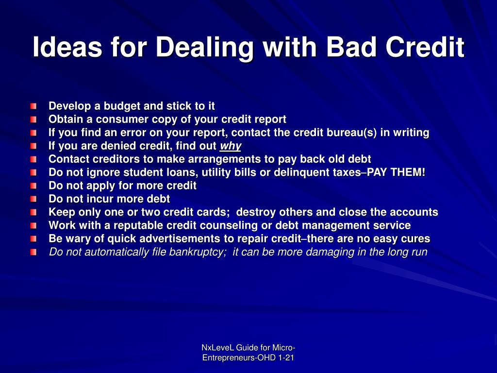 Ideas for Dealing with Bad Credit