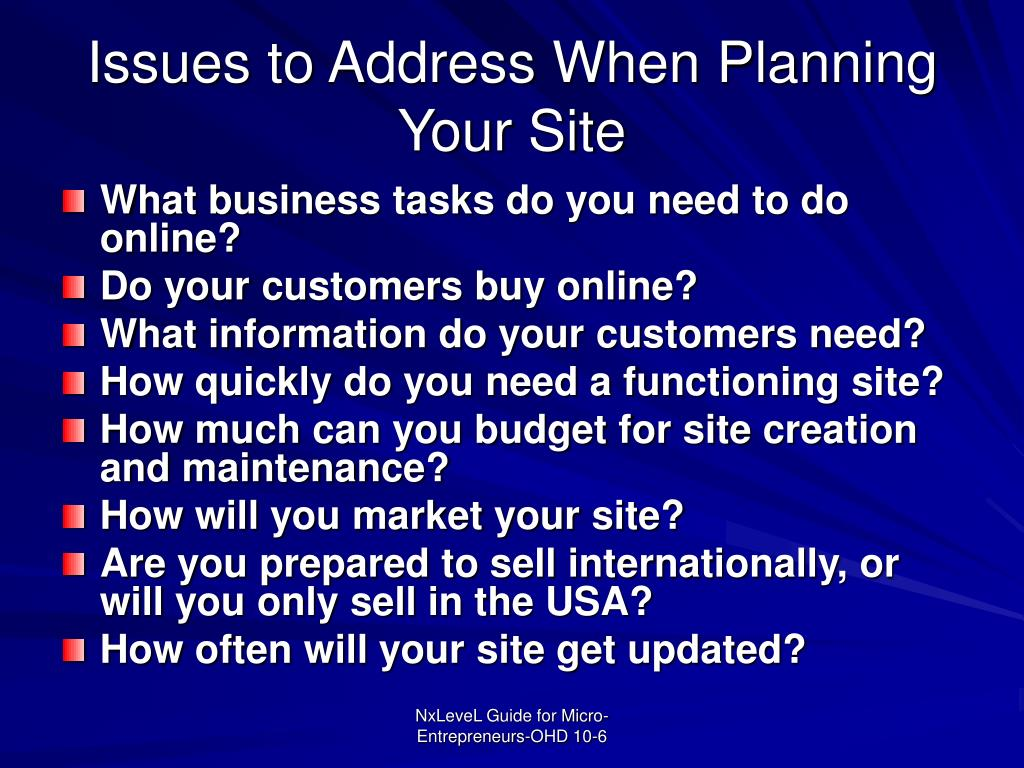 Issues to Address When Planning Your Site