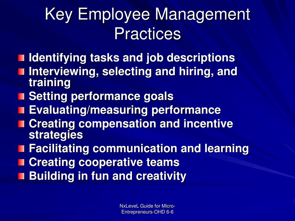 Key Employee Management Practices
