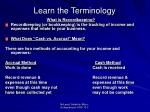 learn the terminology