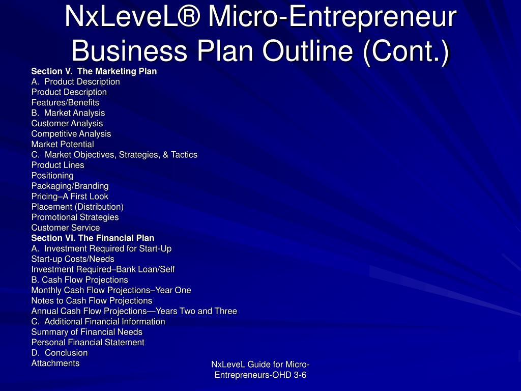 NxLeveL® Micro-Entrepreneur Business Plan Outline (Cont.)