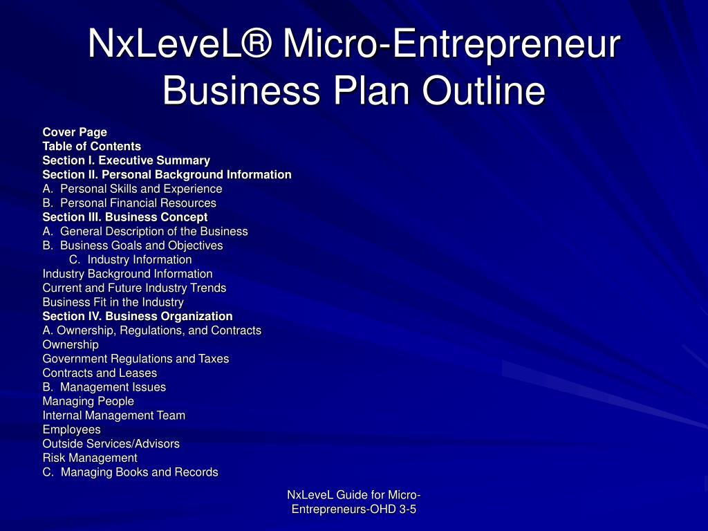 NxLeveL® Micro-Entrepreneur Business Plan Outline