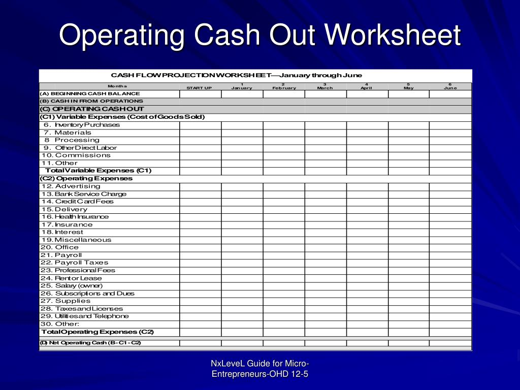 Operating Cash Out Worksheet