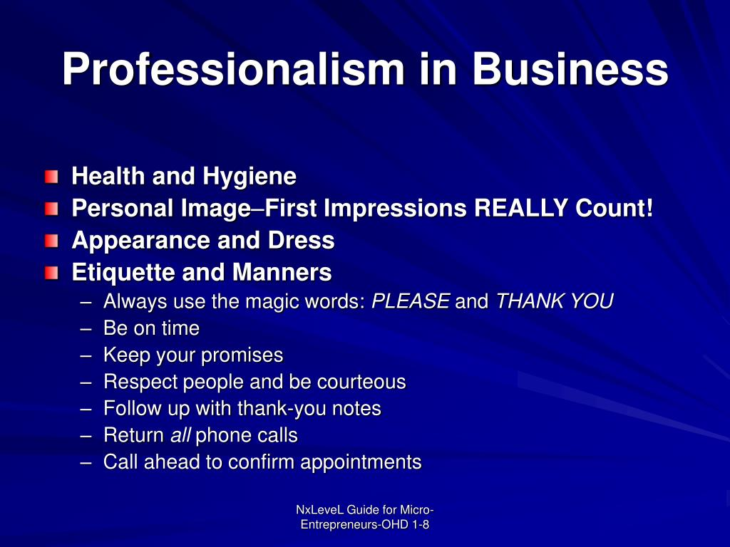 Professionalism in Business
