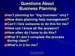 questions about business planning