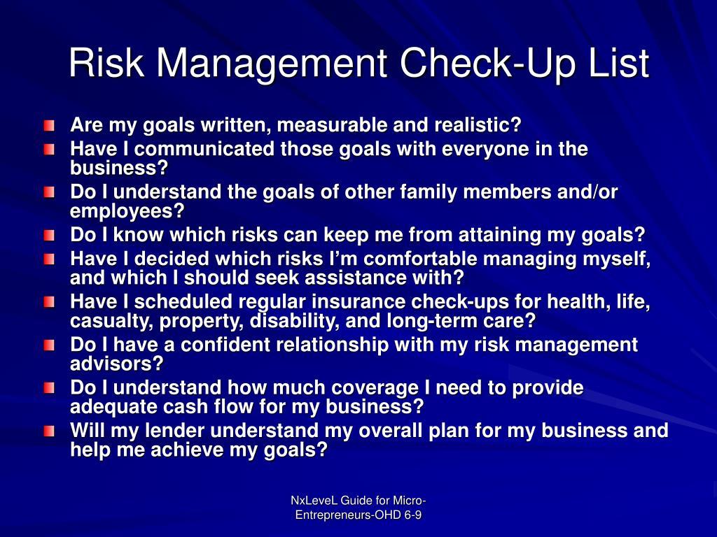 Risk Management Check-Up List