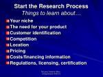 start the research process things to learn about