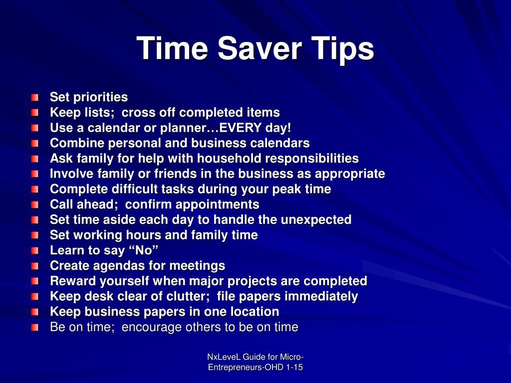 Time Saver Tips