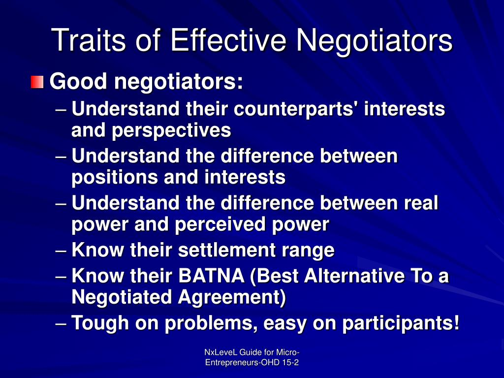 Traits of Effective Negotiators