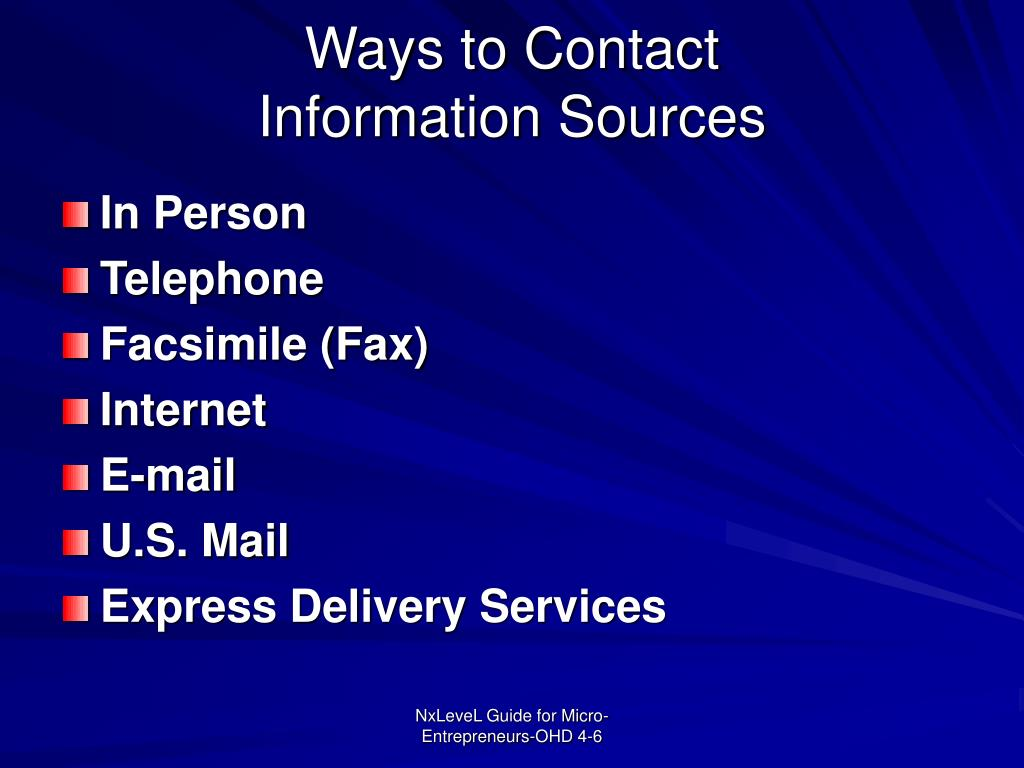Ways to Contact