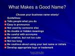 what makes a good name