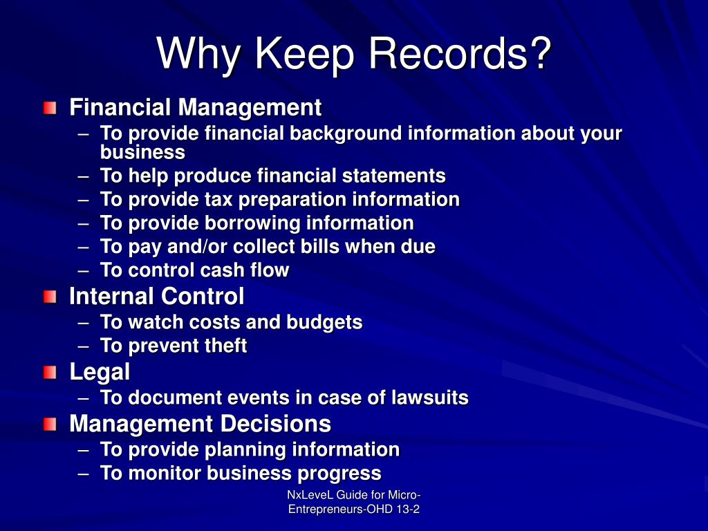Why Keep Records?