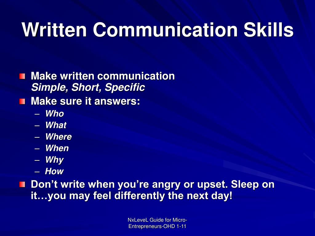 Written Communication Skills