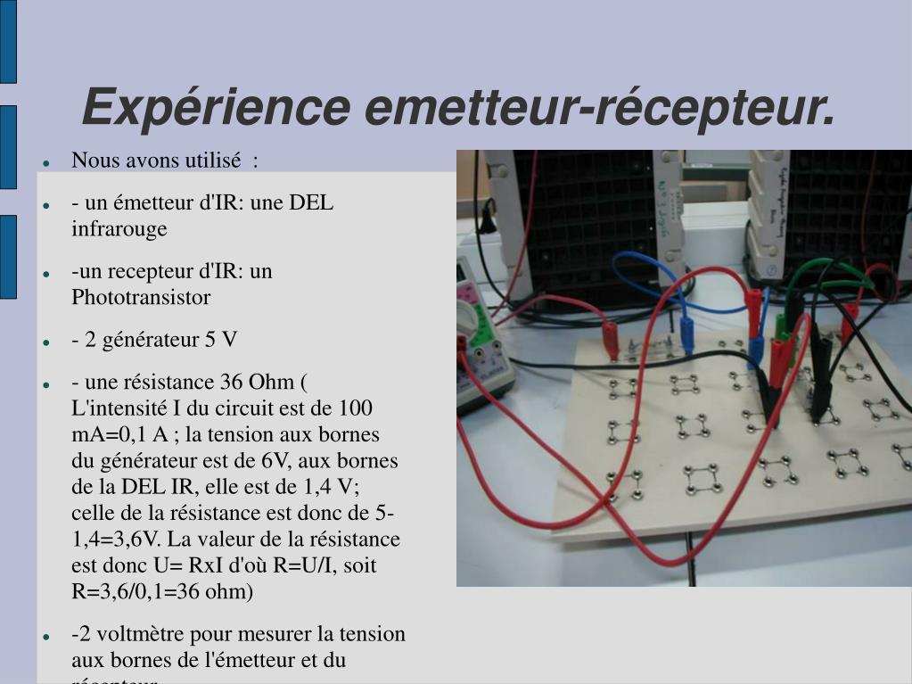 Expérience emetteur-récepteur.