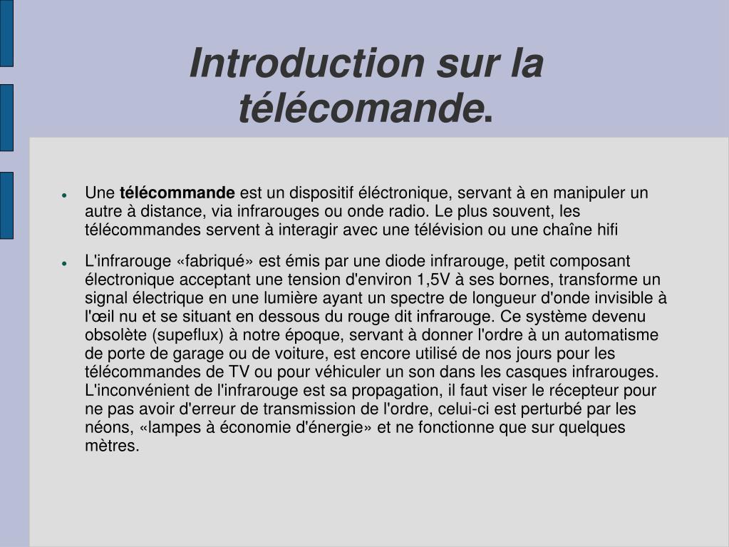 Introduction sur la télécomande