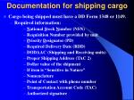 documentation for shipping cargo