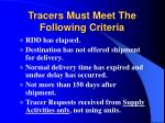 tracers must meet the following criteria