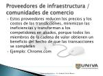 proveedores de infraestructura comunidades de comercio37