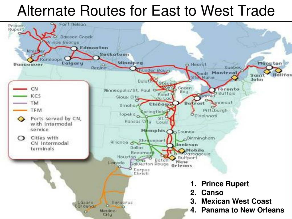 Alternate Routes for East to West Trade