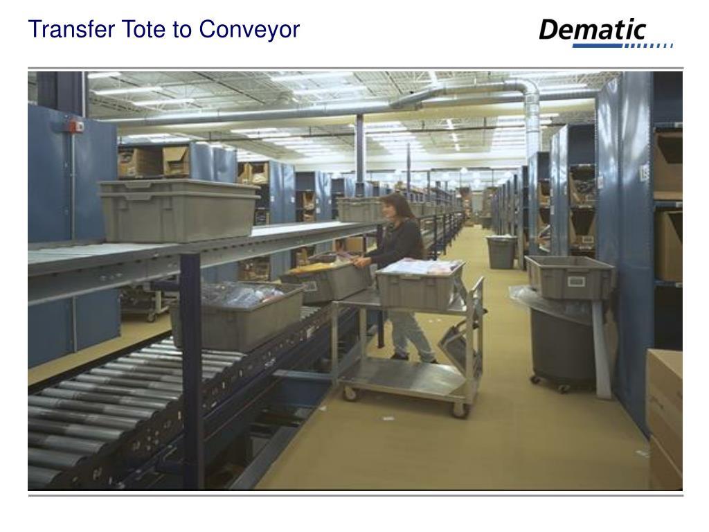 Transfer Tote to Conveyor