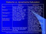 statische vs dynamische kalkulation