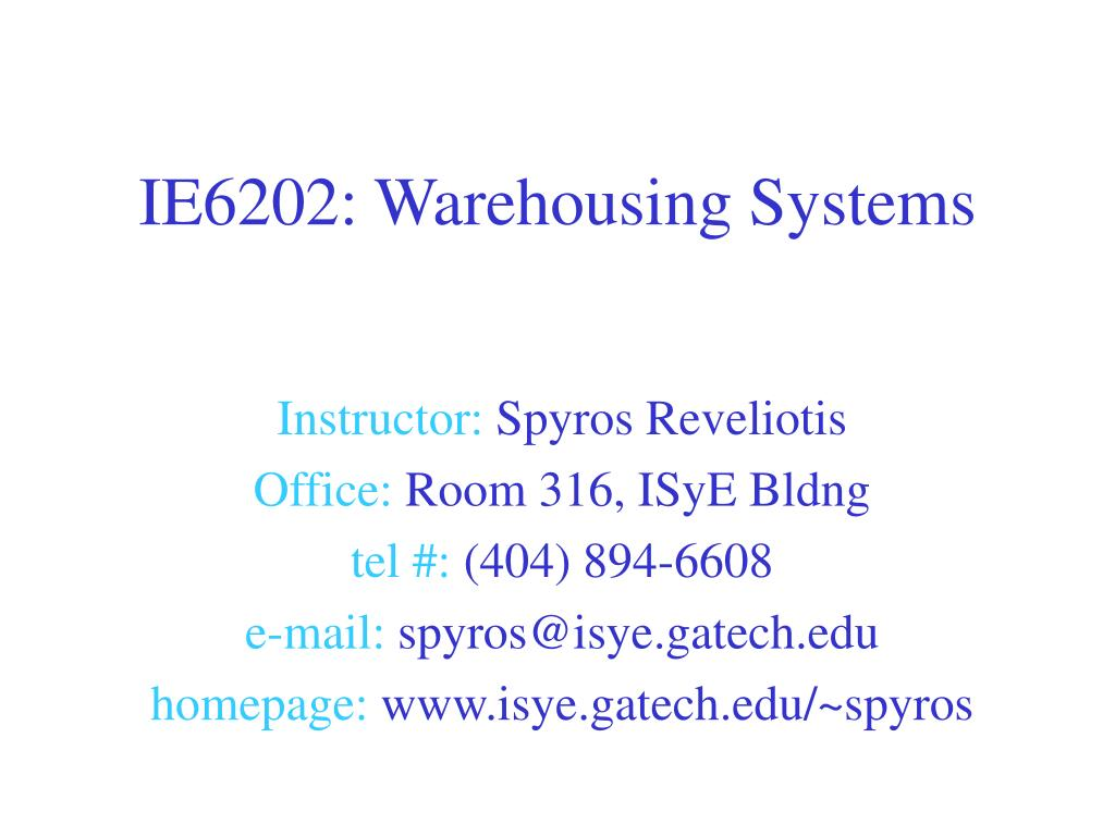 ie6202 warehousing systems l.