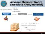 advance shipment notice associate rfid material