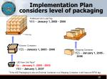 implementation plan considers level of packaging