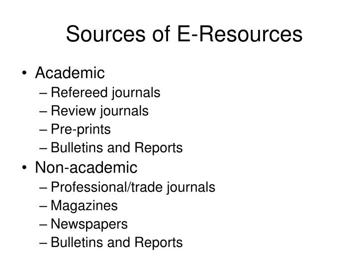 Sources of E-Resources