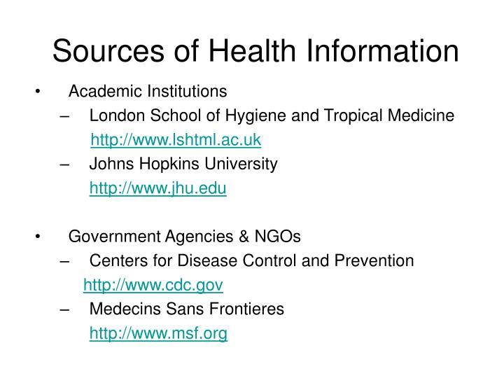Sources of Health Information