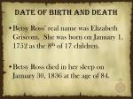 date of birth and death
