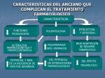 caracteristicas del anciano que complican el tratamiento farmacologico
